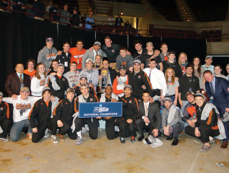 One for the record books: Wrestling team earns 13th national championship