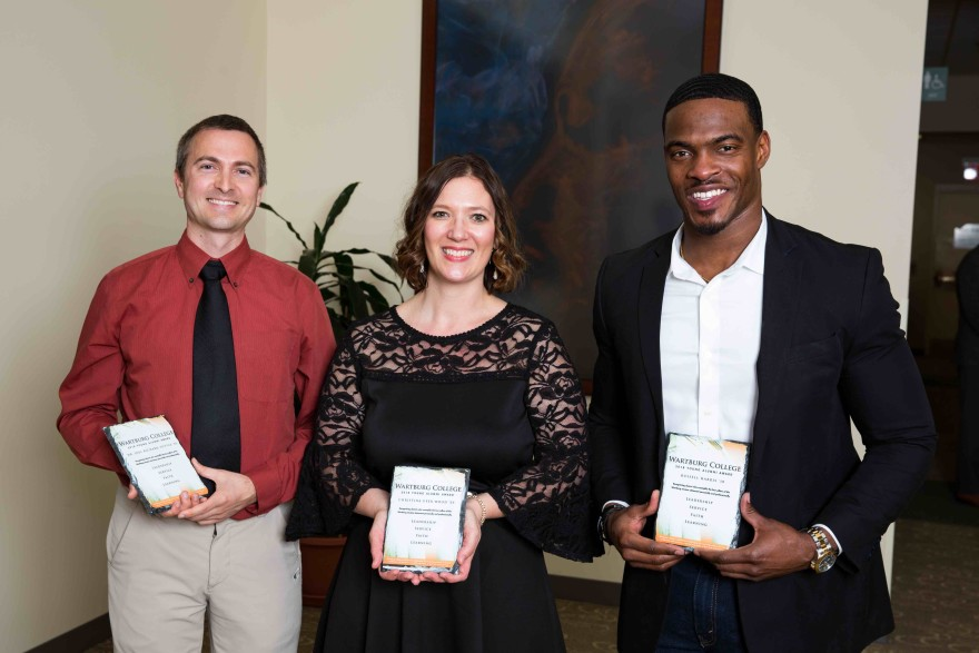 Wartburg College honored its 2018 Young Alumni Award winners (from left) Dr. Joel Tuttle, Christina Wood and Russell Harris, during a dinner Friday, April 13.