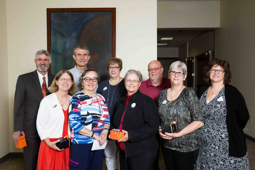 Wartburg College retirees include (back row, l to r) John Myers, Cliff Brockman, SuzAnn Kramer, Jim Anderson and (front row, l to r) the Rev. Ramona Bouzard, Julie Breutzmann, Susan Lenius, Anna Epley and Margaret Empie.