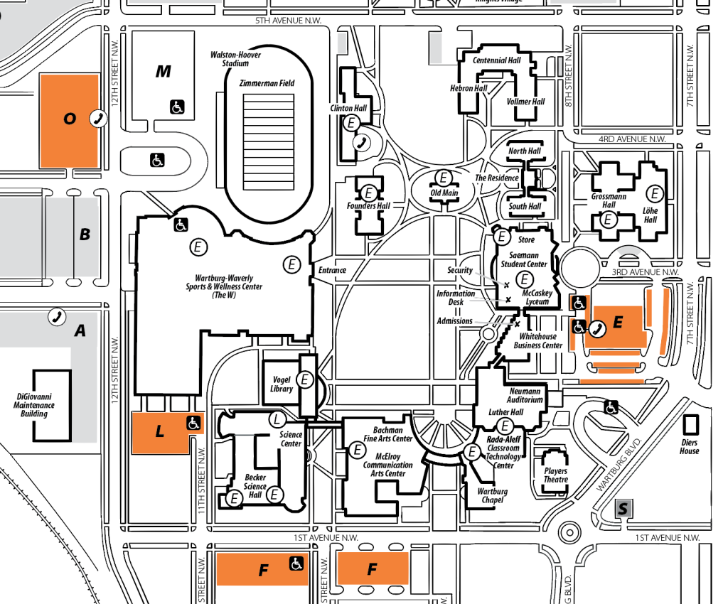 alma college campus map Visitor Parking Wartburg College alma college campus map