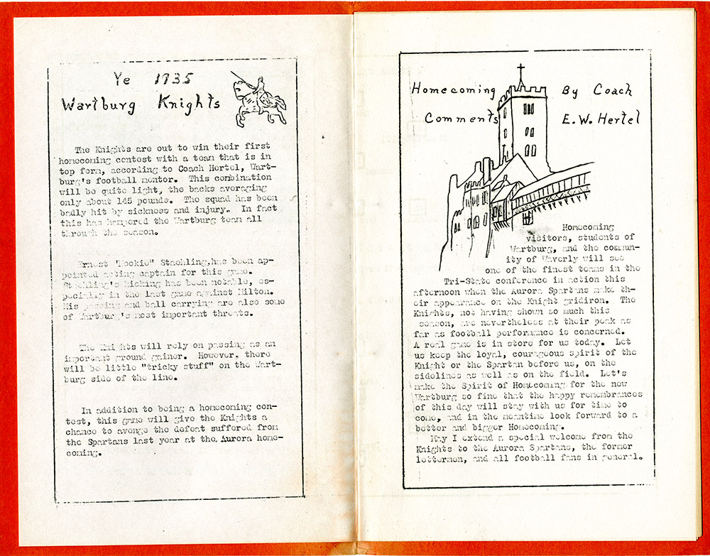 Knight History: 1935 Homecoming Program - Contents
