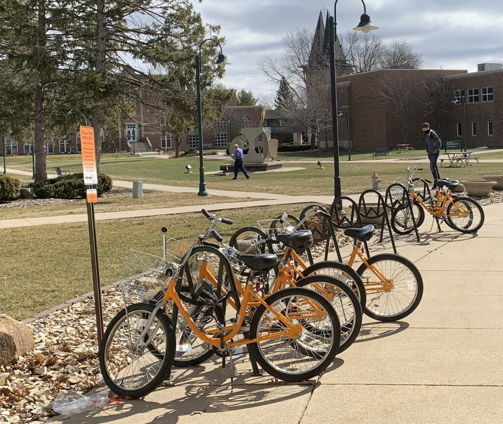 Orange bikes can be checked out at Vogel Library.