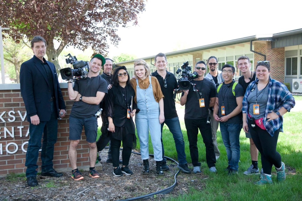 Wartburg students Matt Ohl (third from right) and McKenzie Kielman (far right) served as production assistants when American Idol and Maddie Poppe came to Clarksville.