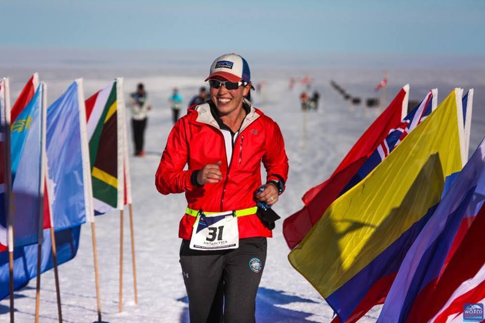 Sarah Lacina runs in Novo, Antarctica, as part of the World Marathon Challenge.