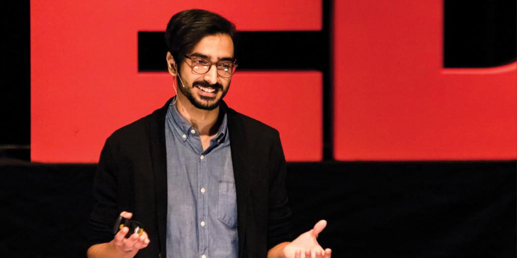 Shazeb Jadoon speaks at TEDxWartburgCollege in 2018.