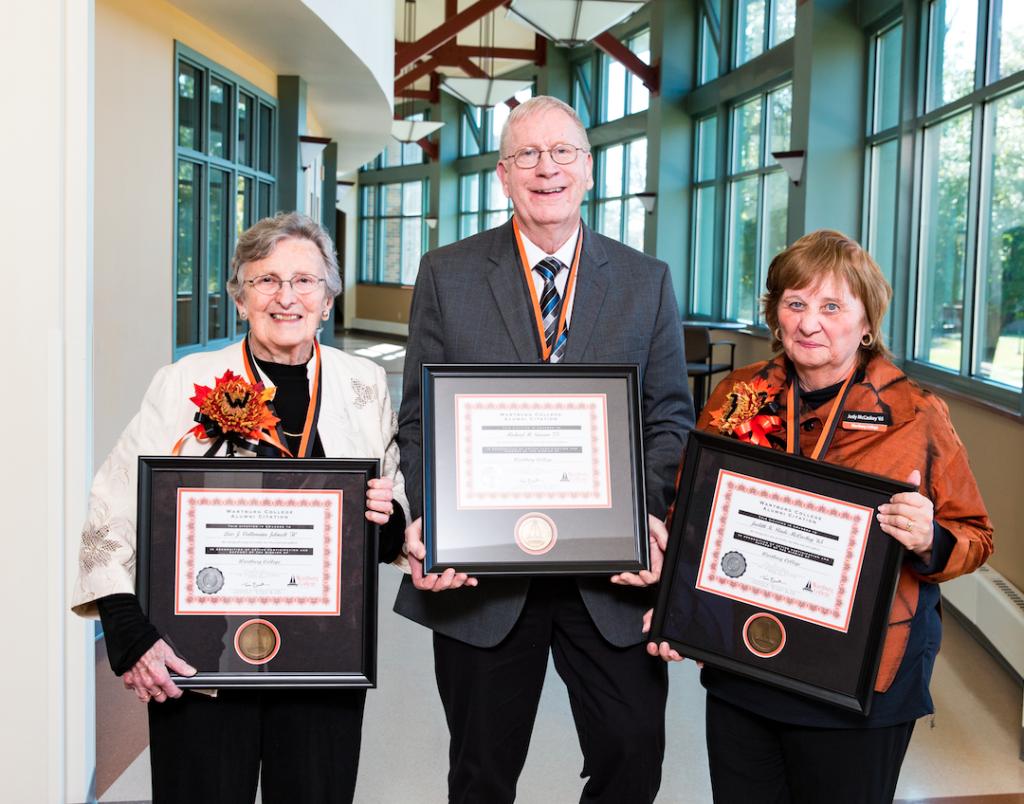 The Wartburg College Alumni Board presented Lois Jelneck, Michael Sinram, and Judith McCaskey with Alumni Citation Awards on Sunday, Oct. 21.