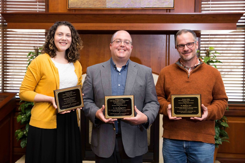 Stephanie Klemetson, Zak Montgomery and Matthew Zart were honored by the student body during a faculty and staff appreciation event.