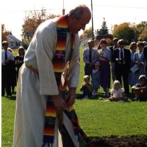 Pastor Trachte at Chapel groundbreaking