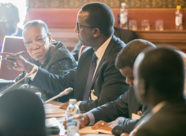 Itonde Kakoma moderates a discussion with former interim President of The Central African Republic Catherine Samba-Panza (left) and representatives of the African Union at the National Dialogue Conference.