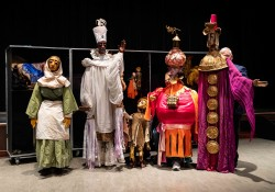 These five life-sized puppets will take center stage Sunday, Dec. 15, during the Wartburg Community Symphony's holiday concert. From left the puppets represent Amahl's mother, King Balthazar, Amahl, King Kaspar and King Melchior.