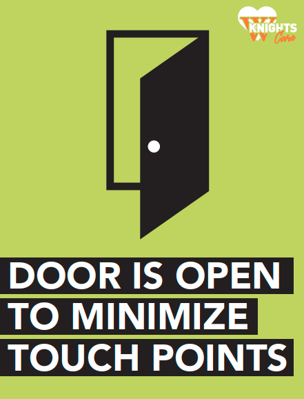 Sign: Door Open to Minimize Touch Points
