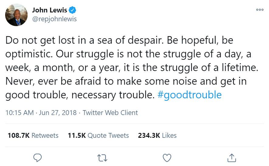John Lewis tweet about good trouble