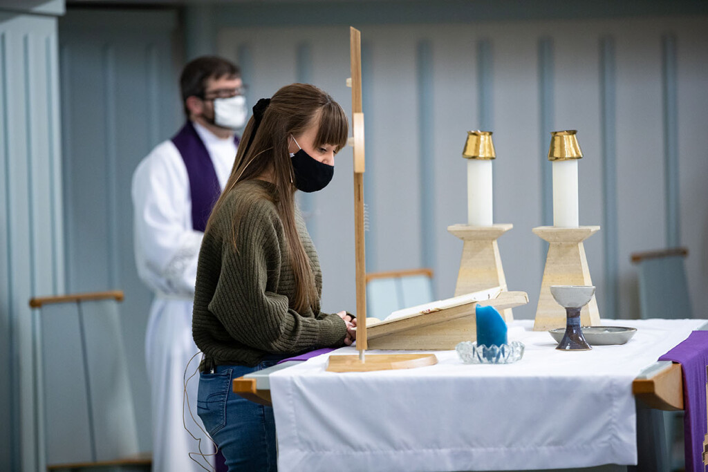 First-year Accelerated Ministry Program student Bailey Erickson of Mason City was an assisting minister at Wartburg College's Ash Wednesday service in February.