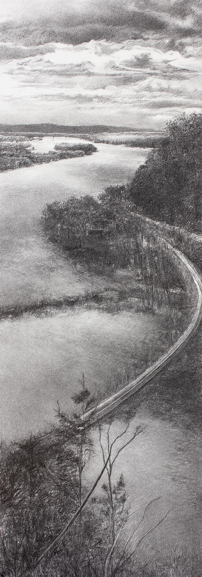 Effigy Mounds Overlook drawing by Barbara Fedeler