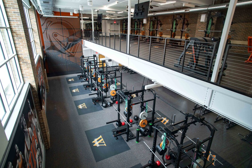The view from the upper level of Wartburg College's new Meyer Strength & Conditioning Annex showcases the 17 weight platforms and expanded areas for strength and conditioning activities, which allows multiple teams to utilize the space at one time.