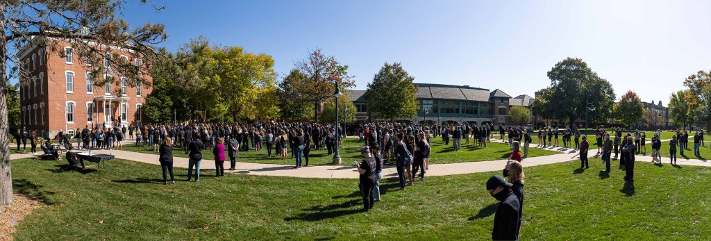 The Demonstration of Unity, hosted by the men's soccer team, drew many to central campus in support of diversity, equity and inclusion concerns and efforts on campus.