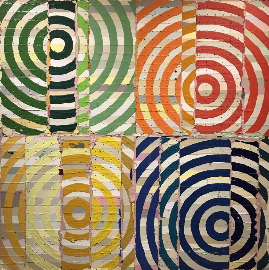 Untitled by Art Vargas is four blocks of colorful circles